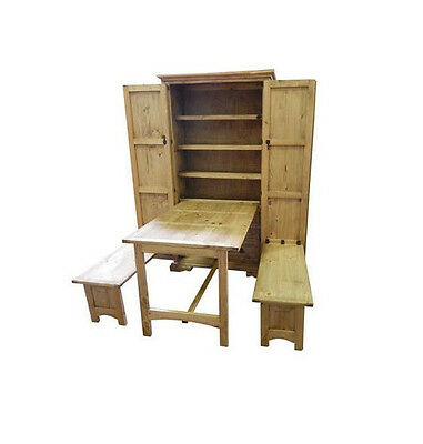 Rustic Cowboy Kitchen Solid Wood Western Fold Up Table Cabin Lodge Storage Table