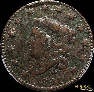 1821 VF PCGS secure! 1C Coronet Large Cent, Rare date! Microporosity, Free Ship