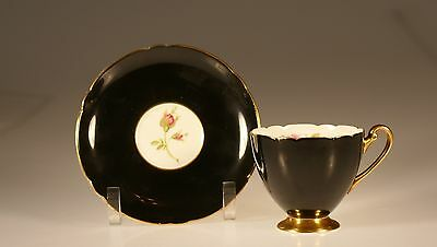 Shelley Englsih Rose Black Ripon Shape Cup and Saucer, Made In England, c. 1949