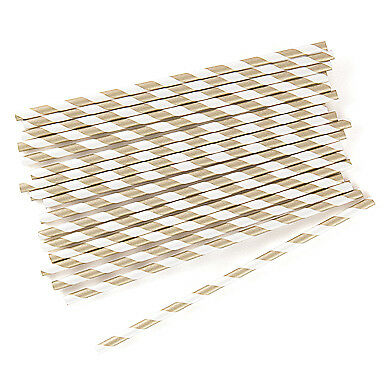 75 Metallic Gold Striped Biodegradable Paper Straws Party Supplies