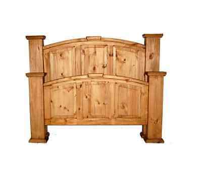 Solid Wood Pine Mansion Bed King Queen Full Western Rustic Lodge Cabin Honey