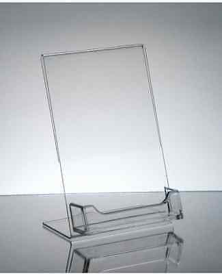 (25) Clear 4x6 counter display sign holder w  business card holder wholesale lot