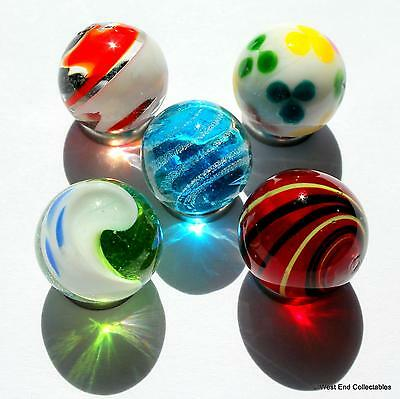 5 x 16mm Bright Handmade Glass Art Toy Marbles - Marble Collectors Selection