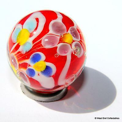 22mm Red Daisies Glass Art Toy Marble +Stand - Handmade Collectors Piece Marbles