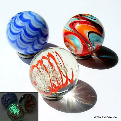 3 x 25mm Handmade Glass Art Marbles Collectors Set - Glow in the Dark Marble