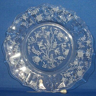 Fostoria Baroque Chintz BREAD & BUTTER PLATE Clear Glass Dish Etched Flowers