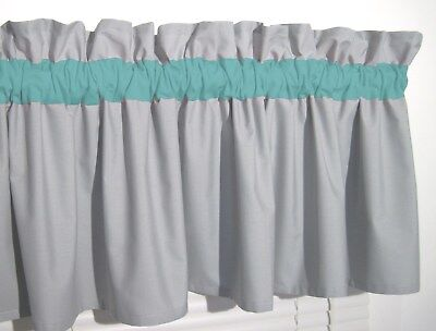 Turquoise & Solid Gray Window Curtain Valance Teal Bath Bedroom Kids FREE SHIP