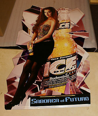 1993 Signet Graphic Products Budweiser Metal Wall Sign Spanish Woman Bud Ice