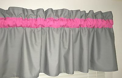 Bright Pink and Gray Window Curtain Valance Bath Bedroom Nursery Kids FREE SHIP