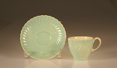 Susie Cooper Cream and Turquoise Pineapple Swirl Demitasse Cup and Saucer