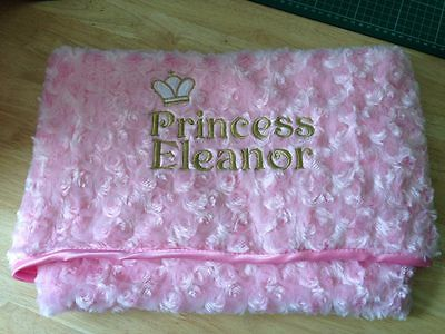 Super Soft Pink / Blue Prince Princess Baby Embroidered Personalised Blanket