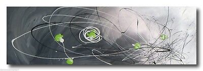 ABSTRACT CANVAS PAINTING  grey lime green. Modern wall art Australia