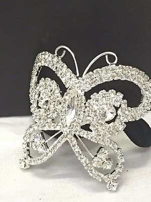 Bridal Wedding Party Butterfly Ponytail Elastic Hair Tie  in Silver Colour