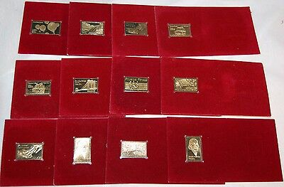 Gold Foil Stamps Lot Of 12 Postage Stamps Hot Air Ballooning, Etc...