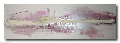 ABSTRACT CANVAS PAINTING  white silver pink. Modern wall art artwork Australia