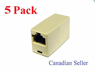 Lot of 5 Pack RJ45 8P8C Straight Thru Inline Coupler