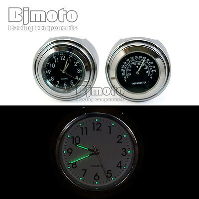 """7/8"""" 1"""" Motorcycle Handlebar Black Dial Clock Temp Thermometer For Harley Glide"""