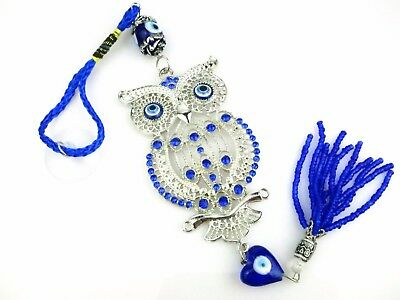Beautiful Owl Crystal Evil Eye Prayer Wisdom Luck Charm for Car House Protection