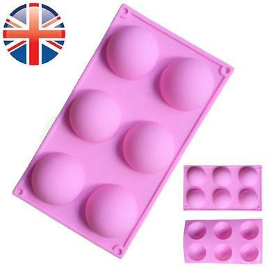 *UK Seller* Silicone 6 Cell Semi Sphere Dome Chocolate Cake Baking Mould Mold