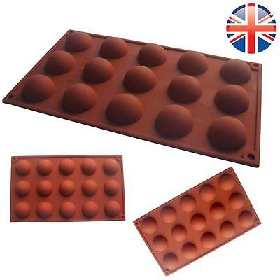 *UK Seller* Silicone 15 Cell Semi Sphere Dome Chocolate Cake Baking Mould Mold