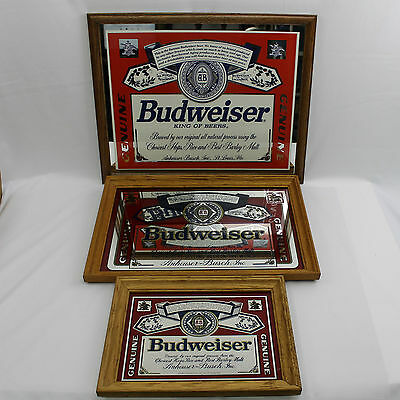 LOT of 3: Budweiser Mirrors with Wooden Oak Frames- VINTAGE Stamford Art & AMD