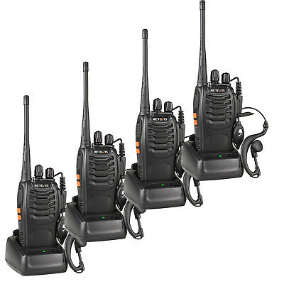 4pcs Retevis H-777 Walkie Talkies Funkgeräte UHF 5W 16CH Two Way Radios+Track