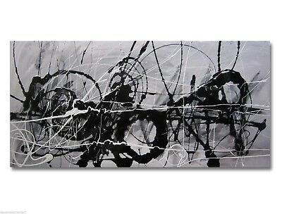 HUGE ABSTRACT CANVAS PAINTING WALL ART grey black Australia