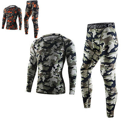 Camo Men Sports Compression Tights Thermal Base Layer Long Sleeve T-Shirts Pants