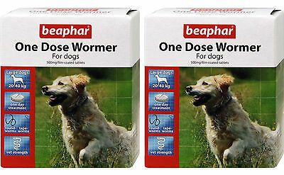 Beaphar One Dose Wormer For Dogs Large Dog 4 Tablets, 2 Pack Deal