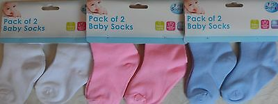 Pack of 2 Pink Blue White Soft Baby Socks 0 months+ Machine Washable