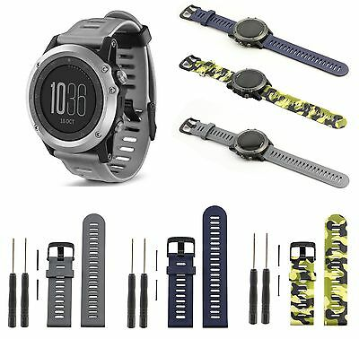 Fitness Silicone Watch Band Strap w/Tools for Garmin Fenix 3 HR GPS Sport Watch