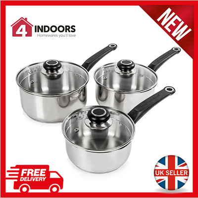 Morphy Richards 970003 Equip 3 Piece Pan Set - Stainless Steel - Induction - NEW