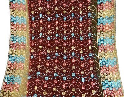 Vintage Dupatta Long Indian Scarf Women Embroidered Fabric Maroon Veil Stole