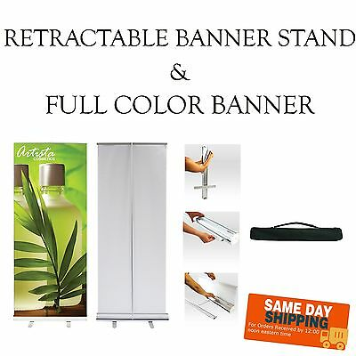 Retractable Pop-Up Banner Stand -INCLUDES PRINT- Free Design - Same Day S&H