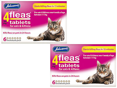 Johnsons 4 Fleas Cat Flea Tablets 6 Tablets 2 Pack Deal