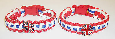 Uk Patriotic Paracord Wristband With Badges - 2 Types Available