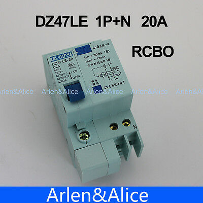 DZ47LE 1P+N 20A 230V~ 50HZ/60HZ Residual current Circuit breaker  RCBO