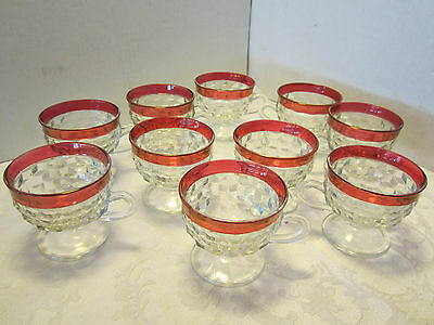 Vintage 10 Red Stained American Pattern Glass Punch Cups w/ handle footed Retro