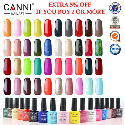 Canni Nail Gel Polish Uv Led Soak Off 7.3Ml Top Base Coat - 207 Colours - 1 - 50