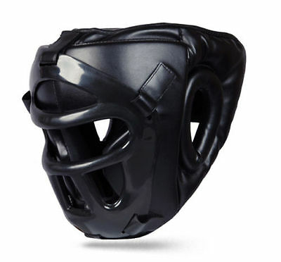 Kikfit Leather Head Guard With Removeable Mask Mma Ufc Kickboxing Protective