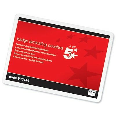 5 Star Glossy Laminating Pouches Size 67x97mm for Business Cards or Badges