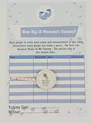 How Big Is Mummy's Tummy ? Baby Shower 24 Player Game Tape measure - Baby Boy