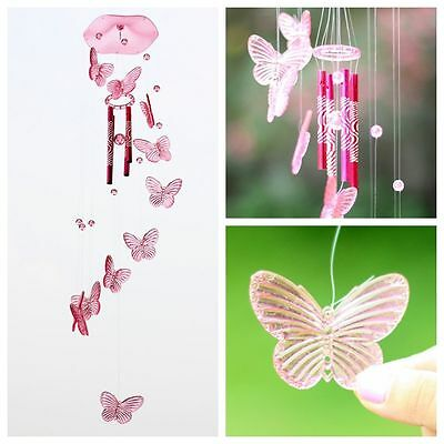 Pink Crystal Butterfly Wind Chime Bell Ornament Lucky Living Hanging Decor Art