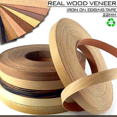 Real Wood Veneer Iron On Edging Tape Strips 22mm Pre Glued Edge Band HIGH QUALTY