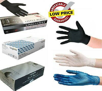 Uniglove Disposable Latex, Nitrile or Vinyl Gloves Powder Free - 100 Boxed