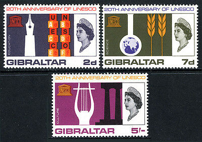 Gibraltar 183-185,MNH.UNESCO,20th ann.Symbols of Education,Science,Culture,1966
