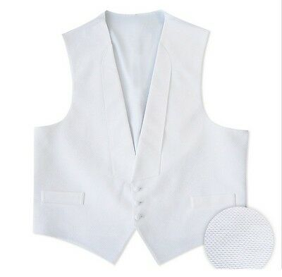 NEW Mens White Cotton Pique Tuxedo Vest Dress Debutante Ball U.S.A. ALL SIZES