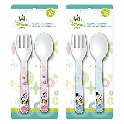 Baby Plastic Spoon & Fork Feeding Set - Disney Minnie or Mickey Mouse