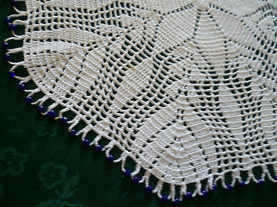 Vintage Round Blue  Beaded Food Cover White Crocheted Design / Round Doiley