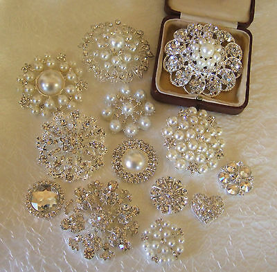 Large diamante rhinestone pearl brooch wedding vintage flower bouquet cake shoes
